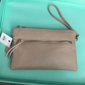 Handbags - NWT Taupe Clutch/Wristlet